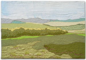Summer Fields, a small art quilt by Ellen Lindner. AdventureQuilter.com