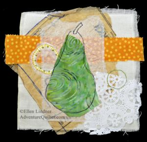 Pear Study #2, a small art quilt by Ellen Lindner. AdventureQuilter.com