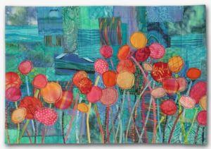 Blossom Boogie, an art quilt by Ellen Lindner. AdventureQuilter.com