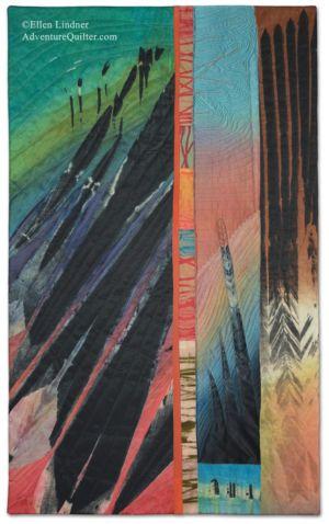 Taking Flight, an art quilt by Ellen Lindner. AdventureQuilter.com