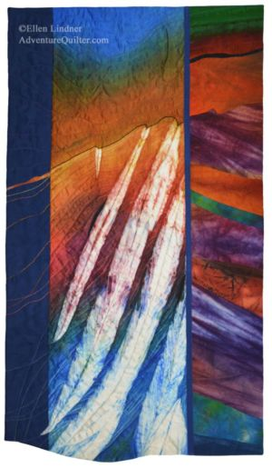 Lava to the Sea, an art quilt by Ellen Lindner. AdventureQuilter.com