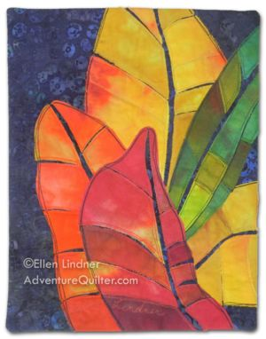 Croton Leaves #3, a small art quilt by Ellen Lindner. AdventureQuilter.com