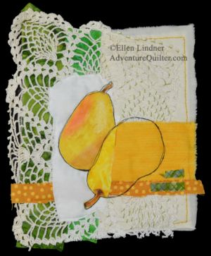 Pear Study #1, a mixed media collage by Ellen Lindner. AdventureQuilter.com