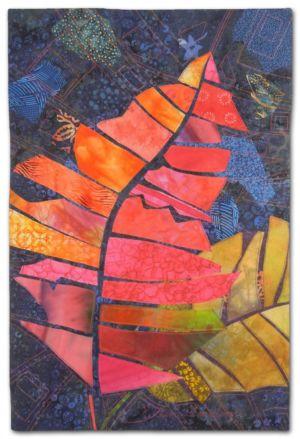 When Crotons Cut Loose, an art quilt by Ellen Lindner. AdventureQuilter.com