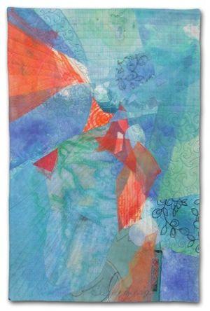 Out of the Blue, an art quilt by Ellen Lindner. AdventureQuilter.com