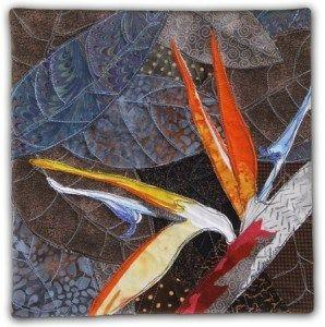 Bird of Paradise, an art quilt by Ellen Lindner. AdventureQuilter.com