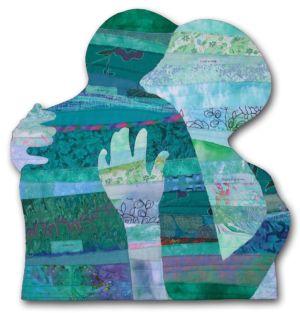 Reconciliation, a part of Ellen Lindner's Body Language art quilt series. AdventureQuilter.com