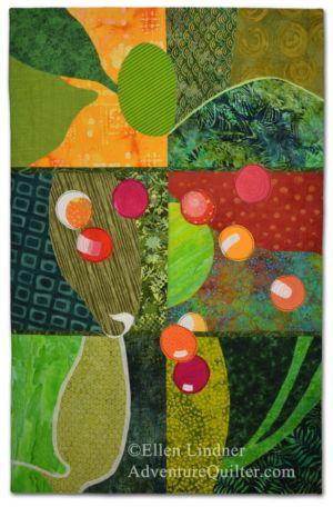 Bush Berries, an art quilt by Ellen Lindner. AdventureQuilter.com