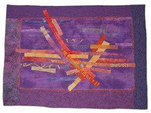 Number 3 with an Egg Roll, an art quilt by Ellen Lindner. AdventureQuilter.com