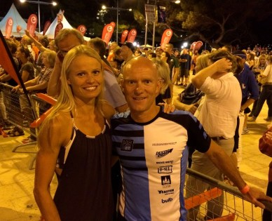 Mit Helle Frederiksen bei der Afterrace-Party