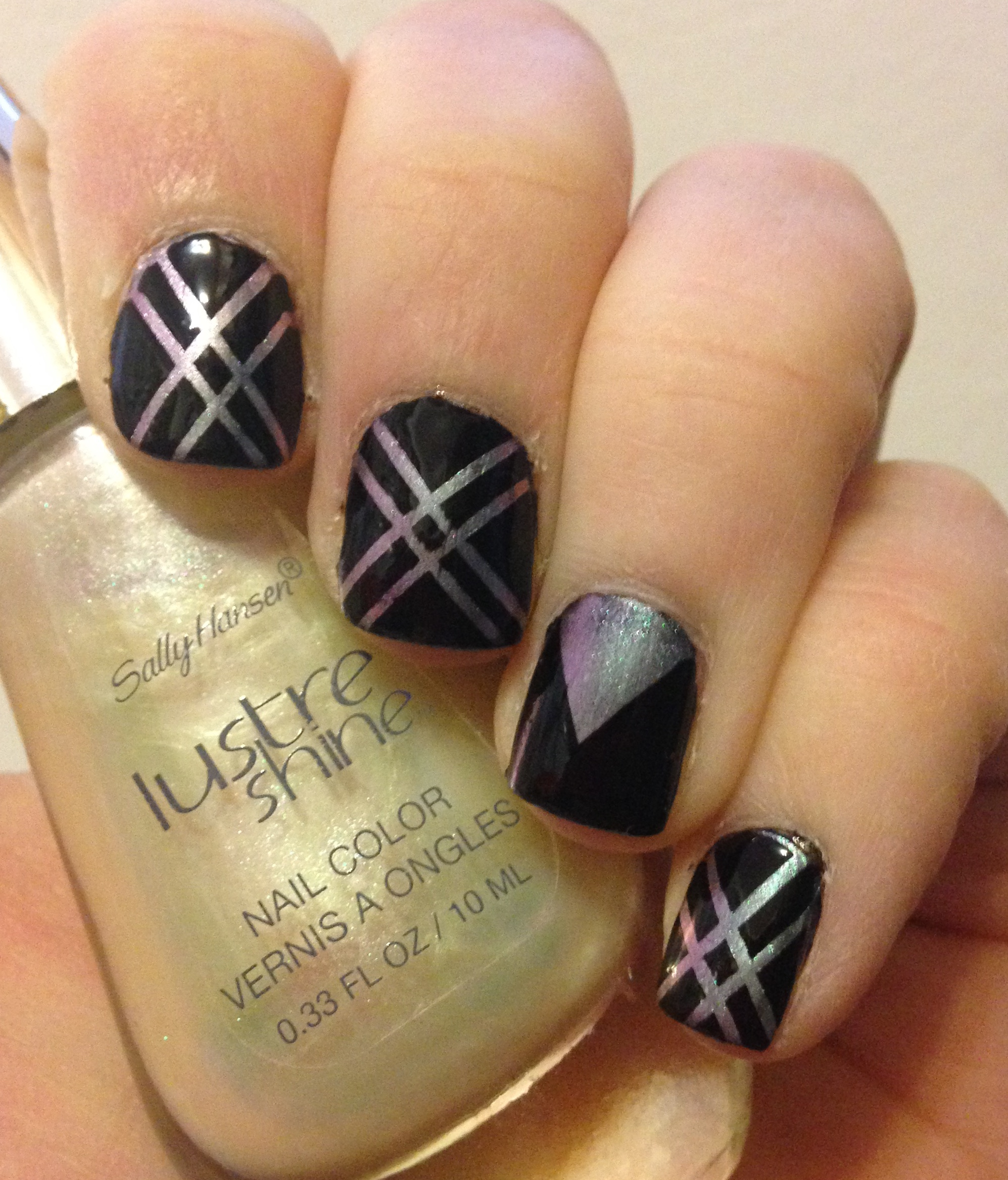 Striping Tape Nail Art featuring Sally Hansen Lustre Shine Moonstone ...