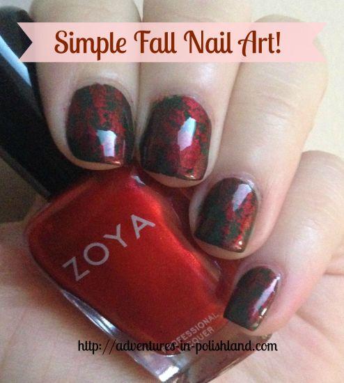 Simple Fall Nail Art featuring Zoya Nail Polish & Messy Mansion Stamping Plate MM38