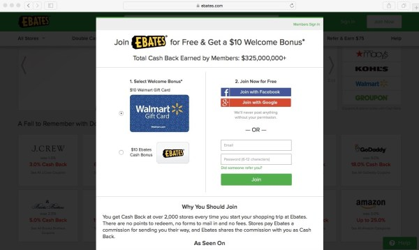Ebates Sign-Up Screen