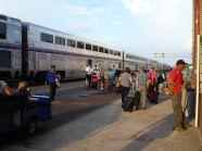 The Amtrak train, at Longview, Texas.