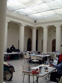 Weirdly, a quilting class - in the U.S. style was going on in the museum, with a mix of American women and Kuwaitis.