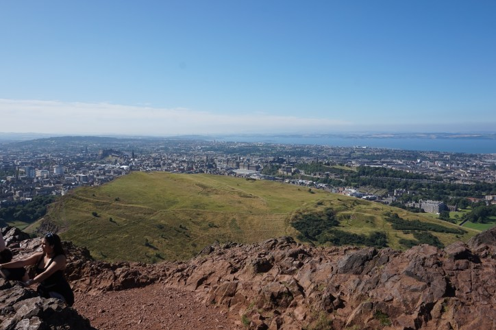 The view of Edinburgh, Scotland from a local mountain.