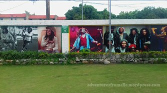 Some of the numerous murals at the Bob Marley museum