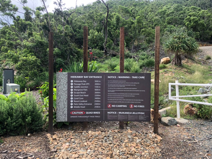 The Scenic trail Entrance at Hamilton Island, walk to the Eastern end of Resort Drive, and head to the junction of Coral Bay drive and Resort drive to start your epic Hamilton Island hike.