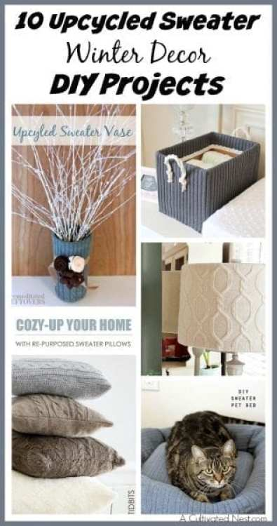 10 Upcycled Sweater Winter Decor DIY Projects - A Cultivated Nest - HMLP 70 Feature