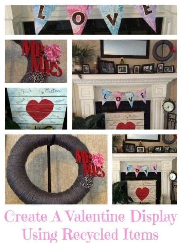 Valentine display Recycled items