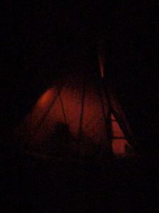 glowing tipi