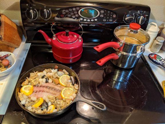 Plaki with Lobster Mushrooms