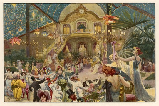 A lavish carnival in Nice, in the South of France. Revellers descend a grand staircase while others mingle with the crowds and have a jolly time. Date 1904.