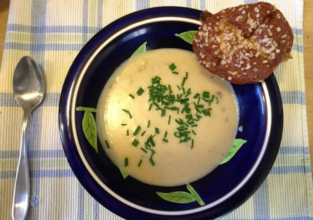 Cheddar Cheese Soup with Pretzel Bread