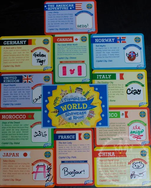 Epcot Kidcot Fun Stop by Ziploc Activity Cards from each country in World Showcase