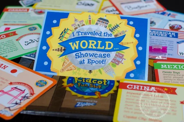 I traveled the World Showcase at Epcot Postcard with Kidcot Fun Stop Activity Cards