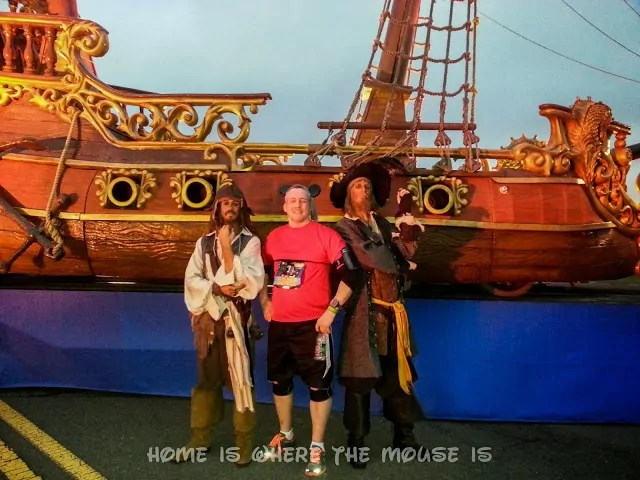 Posing with Capt. Jack Sparrow and Barbosa on World Drive