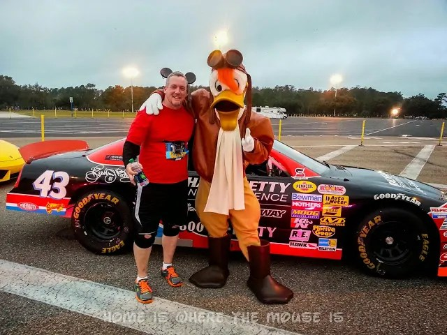 Posing with Launchpad McQuack and a stock car from the Richard Petty Driving Experience
