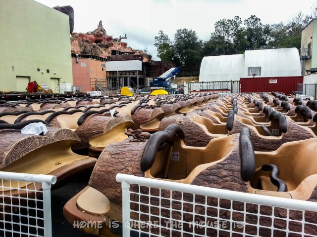 Splash Mountain boats lined up backstage of the attraction