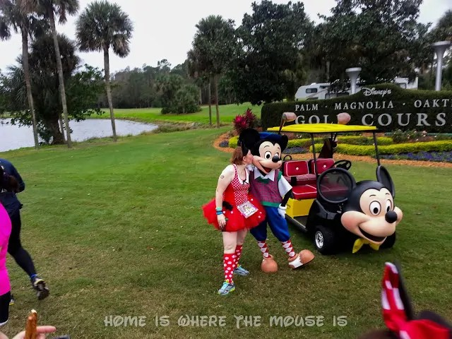 a Runner dressed as Minnie poses with Mickey