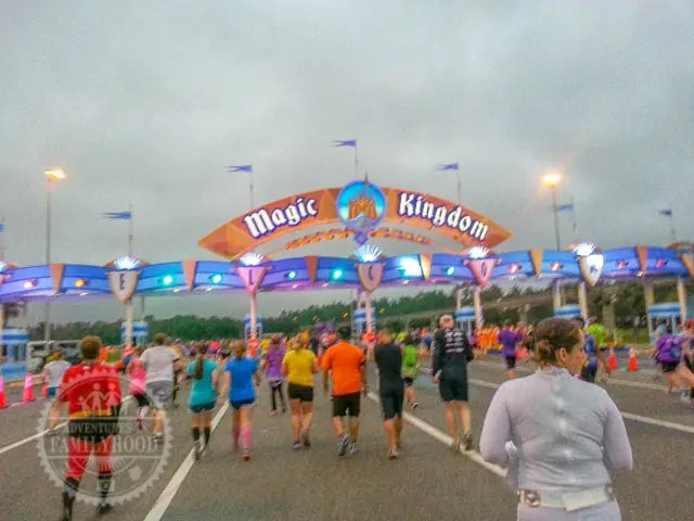 Approaching Magic Kingdom Parking Booths during 2014 Walt Disney World Half Marathon