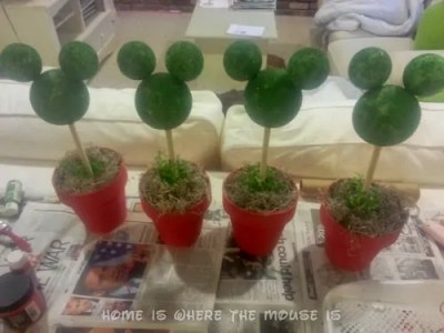Mickey Topiaries in Flower Pots