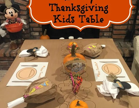 Disney Thanksgiving Kids Table