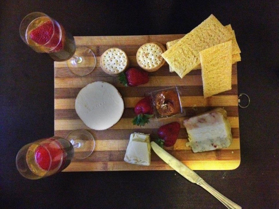 We ended the night drinking champagne and eating cheese in our pj's. Perfect!