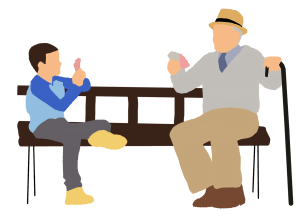 Teenage boy sitting on bench playing cards with grandfather, How to talk to your teenage grandchildren, Adventures in NanaLand