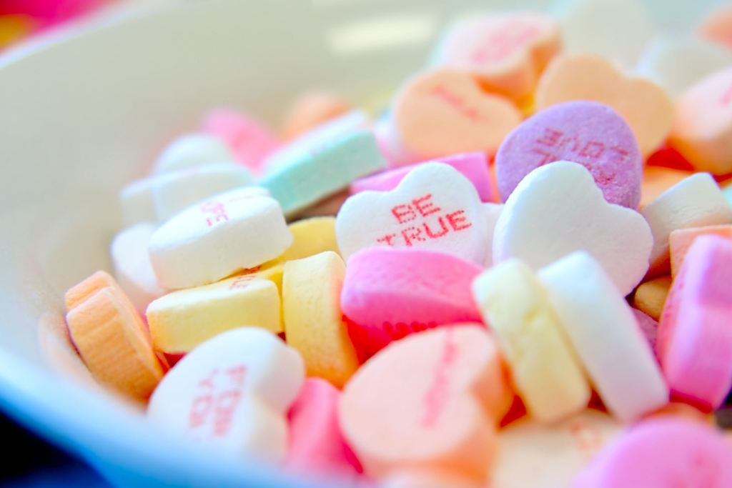 Conversation heart candies in a bowl - Valentine's ideas for kids - Adventures in NanaLand