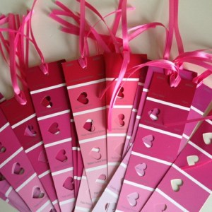 Valentine's Day bookmarks made from paint swatches - Lovebugs and Postcards