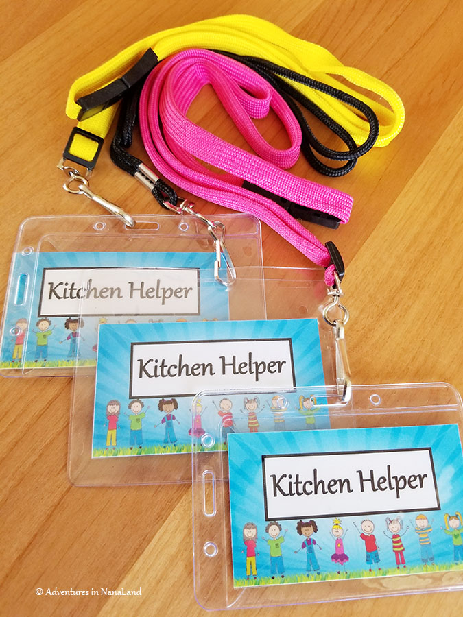 Kitchen helper badges on colorful lanyards - Adventures in NanaLand