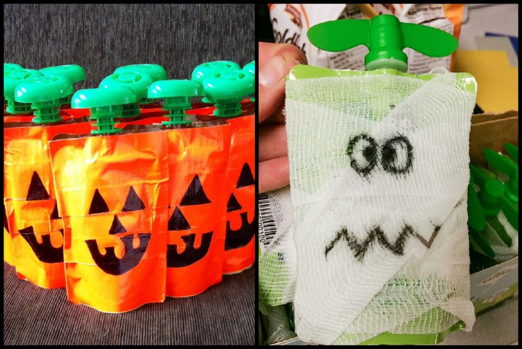 Applesauce packets wrapped in gauze with scary faces drawn on them- Non-candy Halloween treats - Adventures in NanaLand
