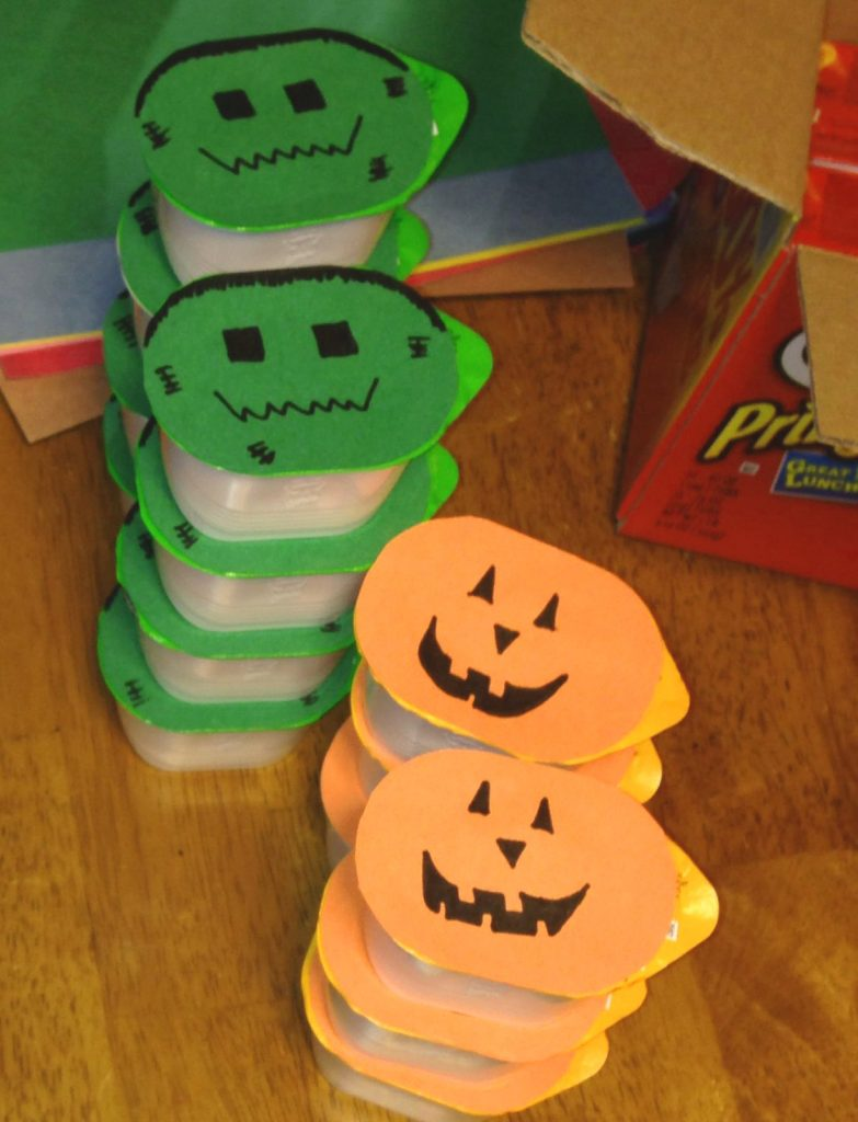Self-serve Pringles containers- Non-candy Halloween treats - Adventures in NanaLand