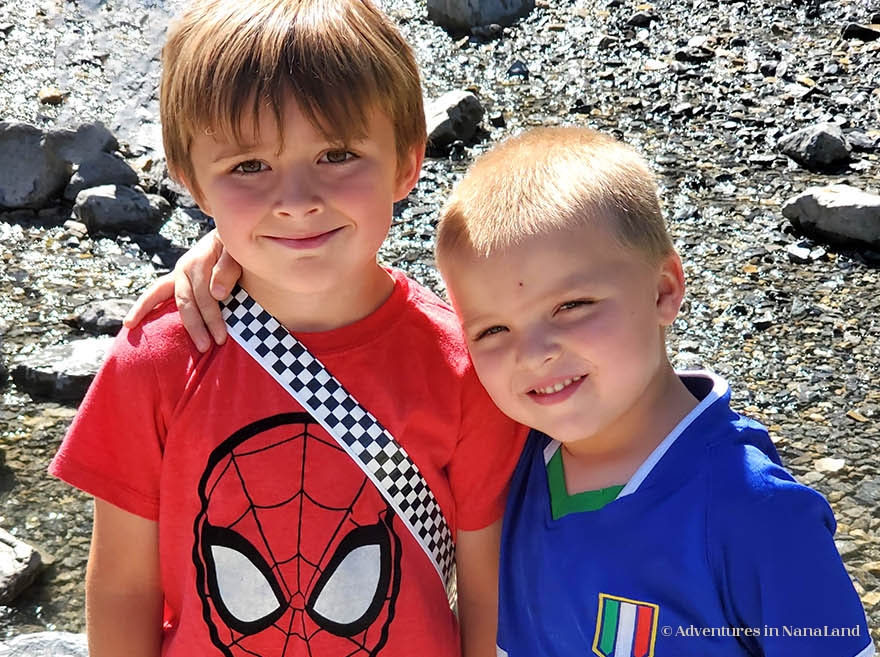 Two little boys outside - Discipline at grandma camp - Adventures in NanaLand