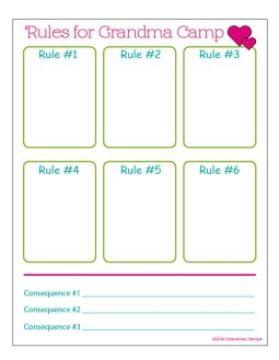 Rules and consequences sheet for grandma camp - Adventures in NanaLand