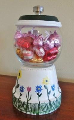 Repurposed flower pot candy dish