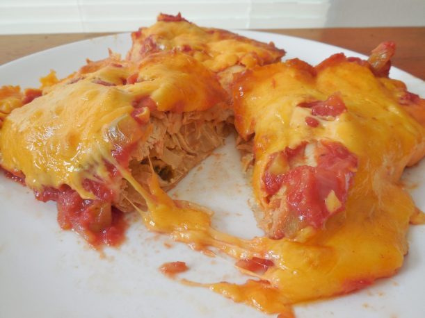 chicken enchilada halved