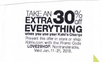 30% off Kohls