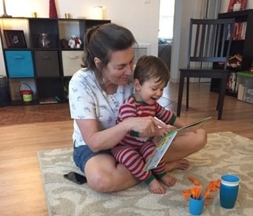 Nana reads to James